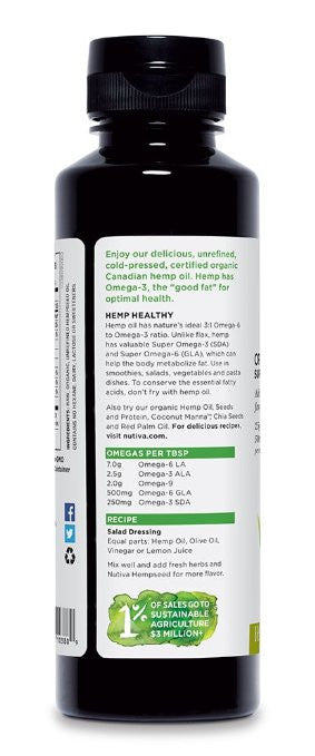 Nutiva Organic Hemp Oil, 8 Ounce - Rich in omega-3 fatty acids, nutty flavor to dressings