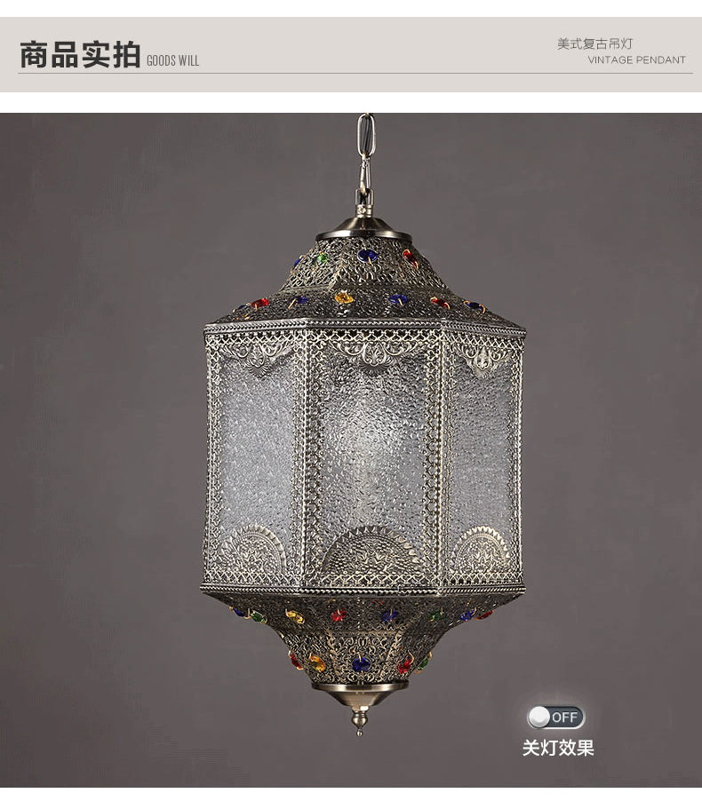 American retro dining-room Pendant Lights India southeast Asia style decorative metal  patterns or designs illumination 110V260V