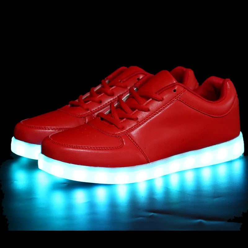 2016 Women Colorful glowing led shoes with lights up  luminous casual shoes simulation  men Couples shoes for adults neon basket