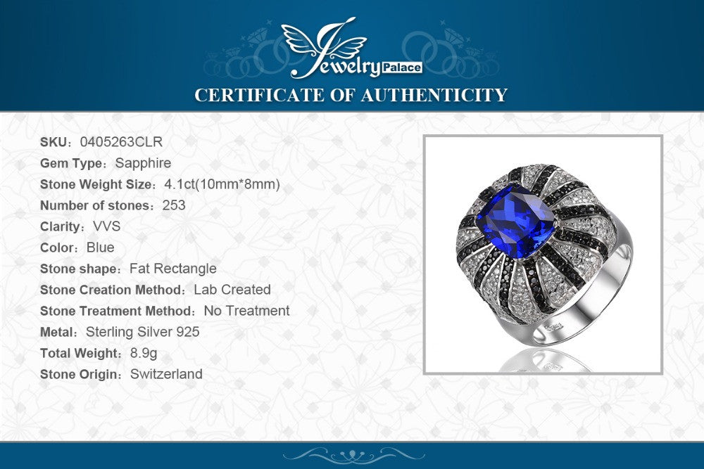 JewelryPalace Luxury 3.9ct Created Blue Sapphire Natural Black Spinel Cocktail Ring Solid 925 Silver Jewelry for Women Fashion