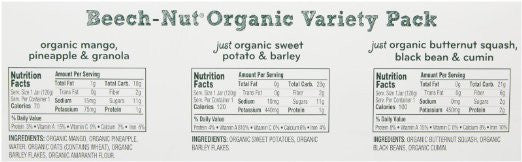 Beech-Nut Organic Stage 3 Baby Food Variety Pack, 4.25 Ounce (Pack of 10) - USDA