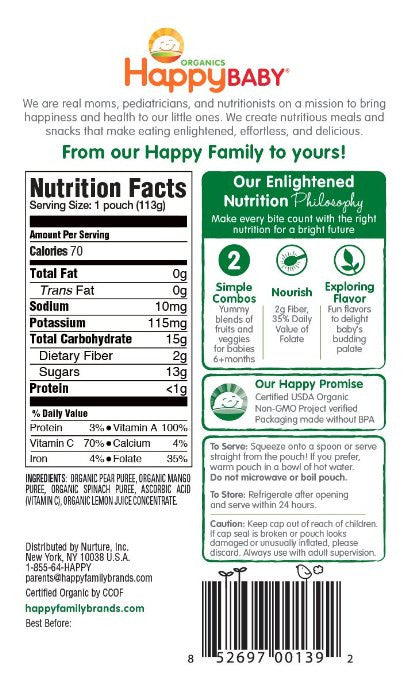 Happy Baby Organic Baby Food, Stage 2 4 Flavor Variety Pack, (Pack of 16)