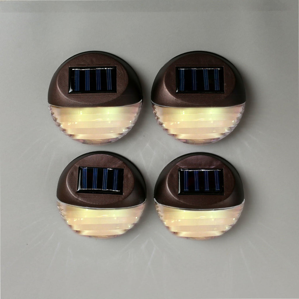 Roll over image to zoom in Set of 4 Super Bright Round Brown Security Solar Water Resistant Fence Lights Best for Fences, Patios, Decks, Walkways, and Gardens