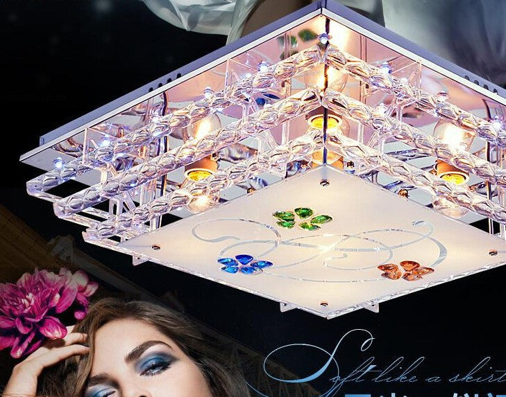 2015 LED crystal square light sweet bedroom light rectangle lamp L48*w48cm  romantic restaurant ceiling lamp  lanterns E14*5
