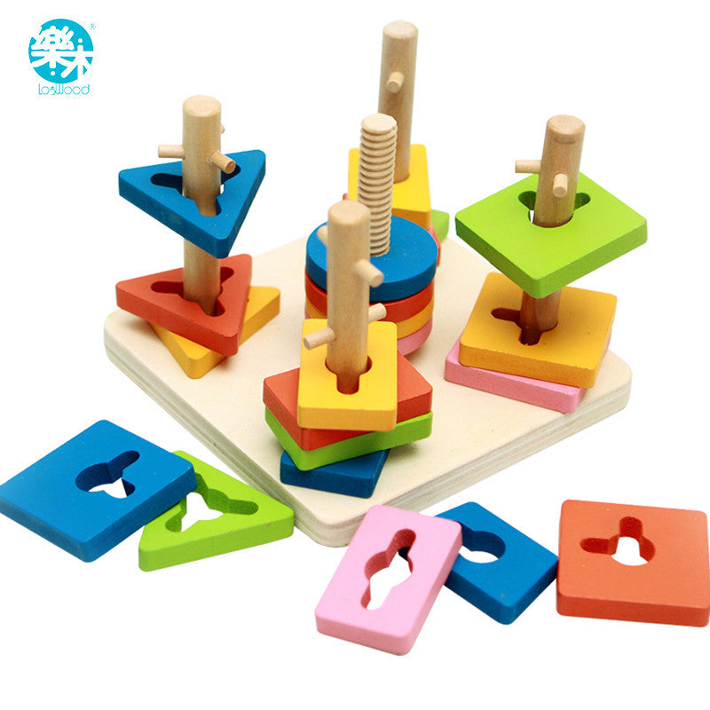 Wooden toys  building blocks shape Wooden block  chirldren montessori develop baby's intelligence early Education  Five pillars