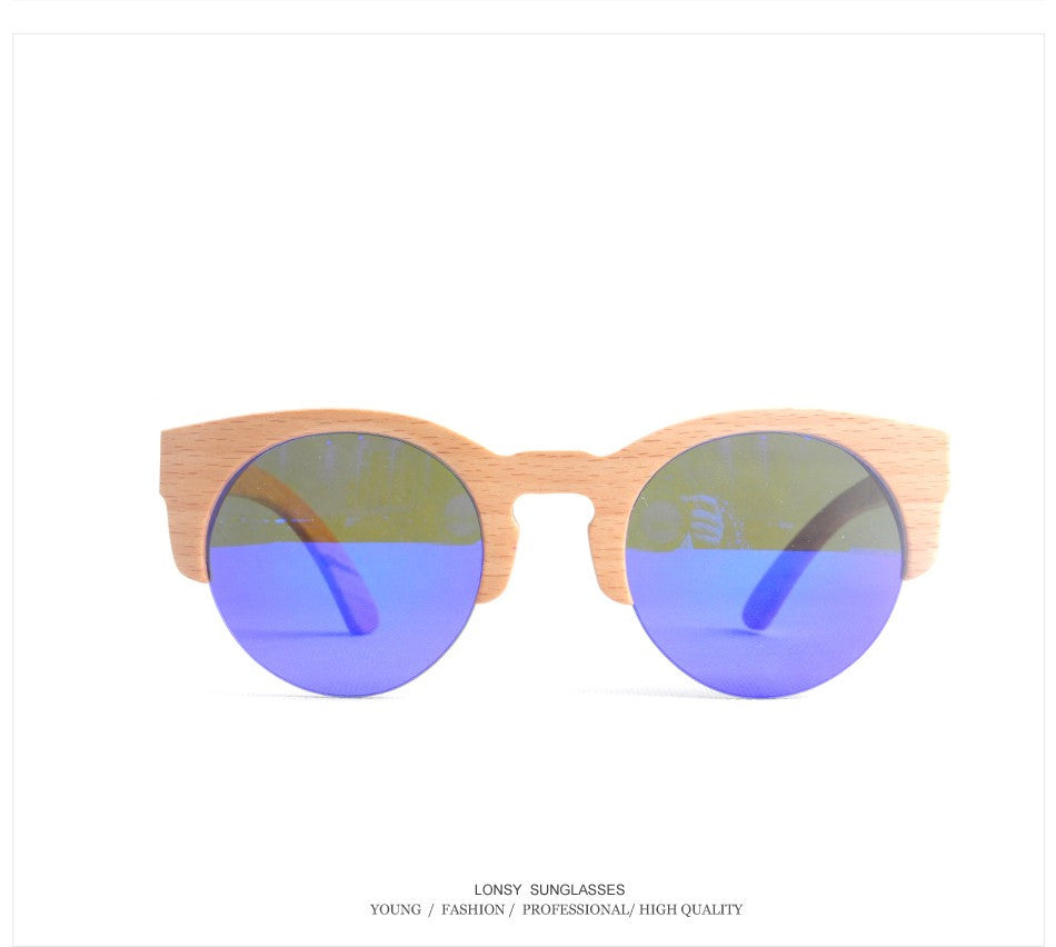 2015 Fashion Original Half Frame Wooden sunglasses Men Brand  Coating Bamboo Sun Glasses For Women gafas de sol mujer LS3032