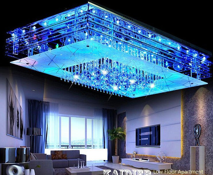 95*75 larger Contemporary Minimalist crystal led flicker chandelier light /colored led crystal ceiling lamp rectangle design