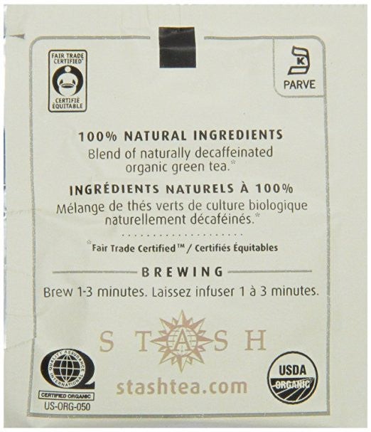 Stash Tea Organic Green Tea Bags in Foil, Decaf Premium - Made with 100% natural ingredients