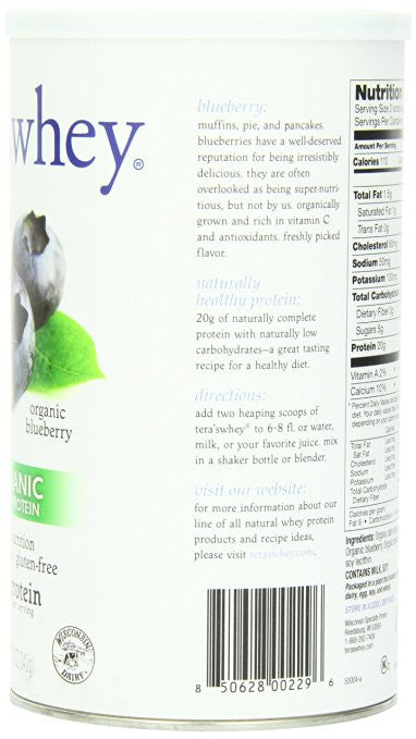 Tera's Whey Organic Whey Protein, Blueberry - At least 20 grams of protein per serving