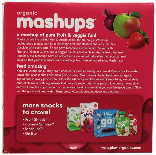 Plum Kids Organic Fruit and Veggie Mashups, Beetbox Berry, 3.17 Ounce, 4 Count (Pack of 6)