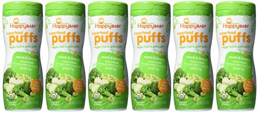 Happy Baby Organic Superfood Puffs, Apple & Broccoli - 20mg of Choline