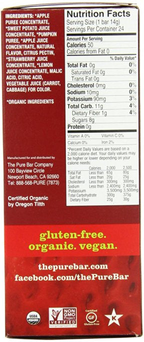 Pure Organic Strawberry Apple Fruit and Veggie Strips (0.49-Ounce, Pack of 24)