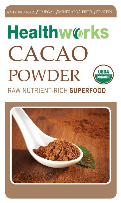 Healthworks Cacao Powder Raw Organic, 1lb - A nutrient dense energy boost - SustainTheFuture.us - The Natural and Organic Way of Life