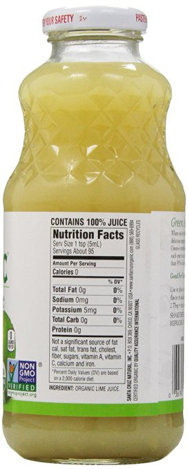 Santa Cruz, Organic 100% Lime Juice, 16 oz -  Can be used as a substitute for vinegar