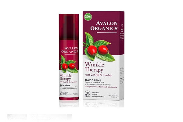 Avalon Organics Wrinkle Therapy with CoQ10 & Rosehip - Smooths fine lines - SustainTheFuture.us - The Natural and Organic Way of Life