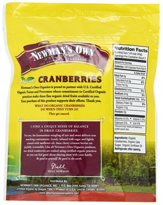 Newman's Own Organics Cranberries - High in Antioxidants, Cholesterol