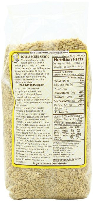 Bob's Red Mill Organic Oats Whole Groats, 29-Ounce (Pack of 4) - Trans fat free