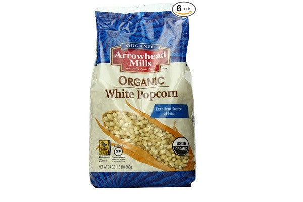 Arrowhead Mills Organic White Popcorn (Pack of 6) - Excellent source of fiber - SustainTheFuture.us - The Natural and Organic Way of Life