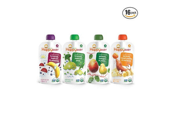 Happy Baby Organic Baby Food, Stage 2 4 Flavor Variety Pack, (Pack of 16) - SustainTheFuture.us - The Natural and Organic Way of Life
