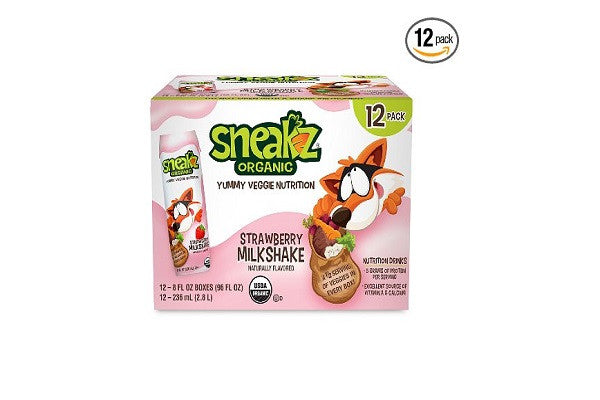 Sneakz Organic Strawberry Milkshake with Yummy Veggie Nutrition (Pack of 12)