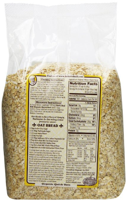 Bob's Red Mill Organic Oats Rolled Quick, 32-Ounce (Pack of 4) - Cholesterol free
