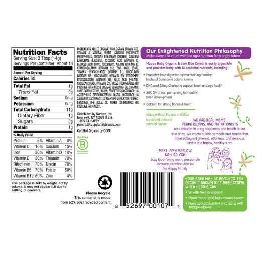 Happy Baby Organic Probiotic Baby Cereal with DHA & Choline, Brown Rice 7- Ounce