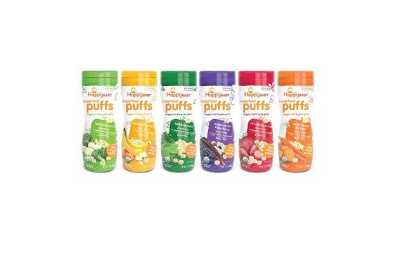 Happy Baby Organic Puff Variety Pack, 6 Count - 15% Daily Value of Vitamin E