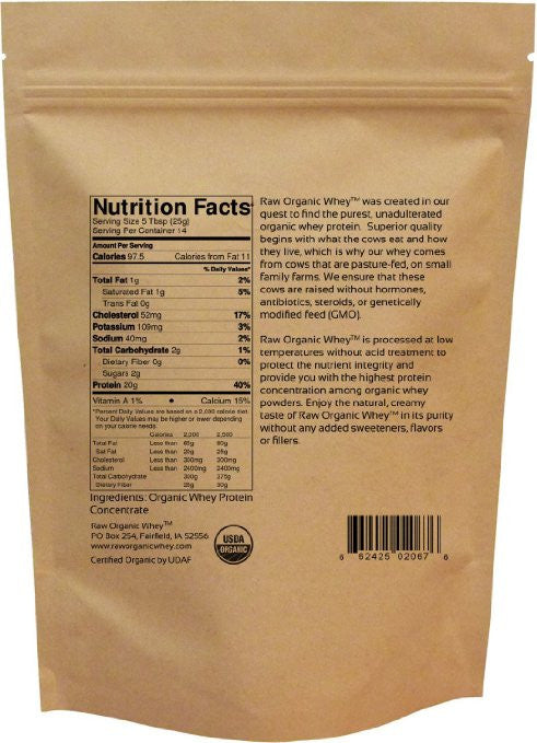 Raw Organic Whey - USDA Certified Organic Whey Protein,12 Ounce - Soy Free