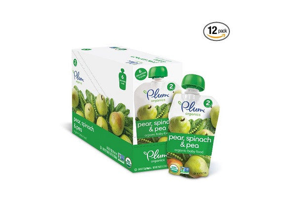 Plum Organics Baby Second Blends, Spinach, Peas and Pear (Pack of 12) - 100% BPA-free