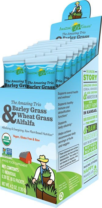 Amazing Grass Amazing Trio, Box Of 15 Individual Servings - Non GMO, Raw - SustainTheFuture.us - The Natural and Organic Way of Life