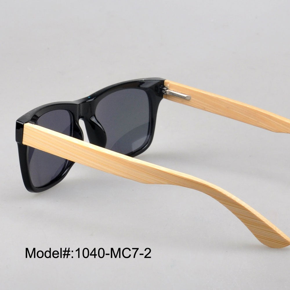 1040 unisex 's style plastic sunglasses with bamboo temple  UVB  UVA sunshade  with spring hinge
