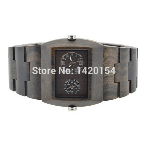 2016 New Zebra Wooden Watch Mens Bewell Dual Movement Squre Wood Watch