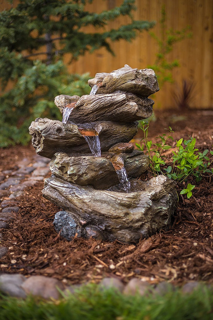 Meadow Log Fountain - Cascading Waterfall Garden Fountain with LED Lights. Realistic Water Feature with Low Splash Design. Pump Included.