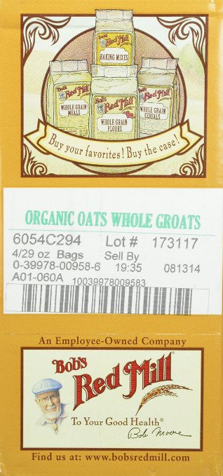 Bob's Red Mill Organic Oats Whole Groats, 29-Ounce (Pack of 4) - Trans fat free - SustainTheFuture.us - The Natural and Organic Way of Life