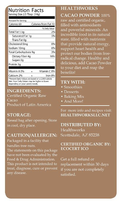 Healthworks Cacao Nibs Raw Organic, 1lb - Cacao Nibs contain high amounts of theobromine - SustainTheFuture.us - The Natural and Organic Way of Life