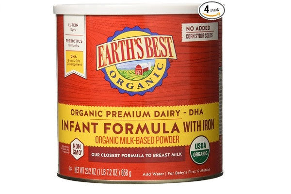 Earth's Best Organic Infant Formula with Iron, 23.2 oz (Pack of 4) - SustainTheFuture.us - The Natural and Organic Way of Life