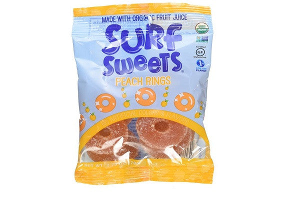 Surf Sweets Organic Peach Rings, 2.75 Ounce (Pack of 12) - Made in USA In a facility free