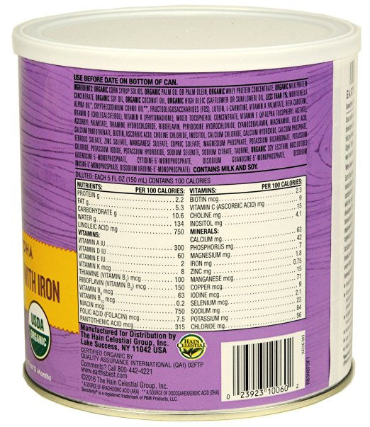 Earth's Best Organic, Sensitivity Infant Formula with Iron (Pack of 4) - ARA - SustainTheFuture.us - The Natural and Organic Way of Life