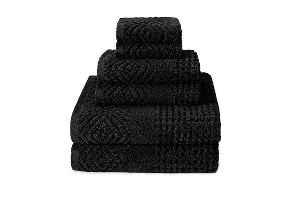 100% Organic Cotton 6-Piece Towel Set (Black, Jacquard) - 100% GOTS Certified - SustainTheFuture.us - The Natural and Organic Way of Life
