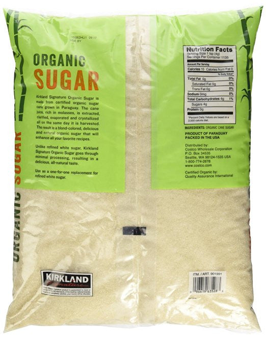 Kirkland Signature Organic Sugar - 10 Lb - Made from certified organic sugar cane - SustainTheFuture.us - The Natural and Organic Way of Life