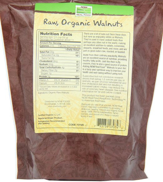 Now Foods Certified Organic Walnuts, Raw Halves and Pieces (Unsalted), 12-Ounce Bag