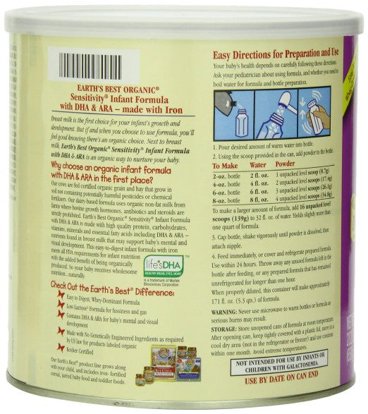 Earth's Best Organic, Sensitivity Infant Formula with Iron, 23.2 Ounce - DHA - SustainTheFuture.us - The Natural and Organic Way of Life