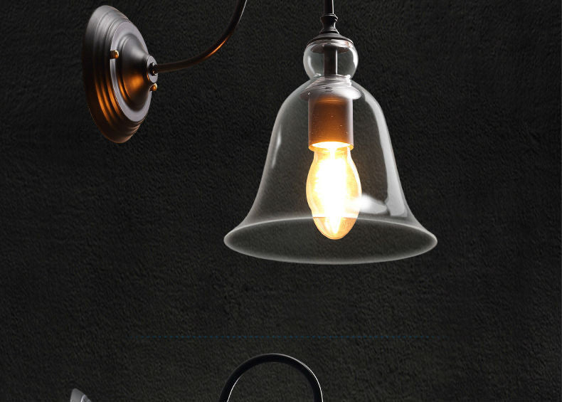 American Retro Village Wall Lamp E27 Holder Glass lampshade Crystal Bell Style Bedroom Bedside Lamp Balcony Corridor Lighting