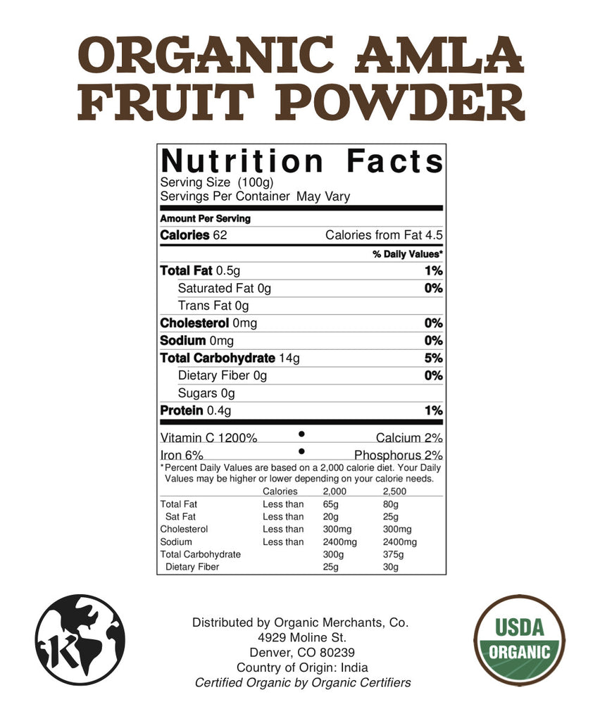 Organic Amla Fruit Powder - 8oz Package - Kosher, NON GMO, Gluten Free, Vegan