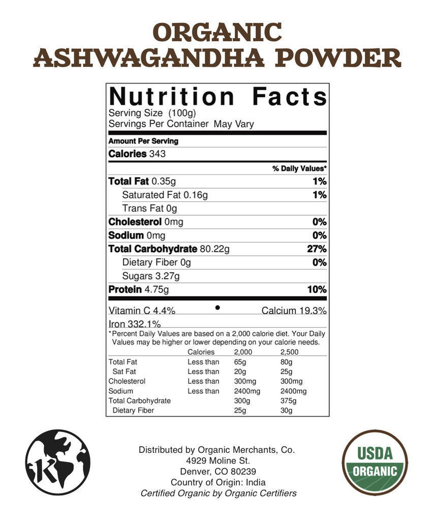 Organic Ashwagandha Powder - 4oz Package - Kosher, NON GMO, Gluten Free, Vegan