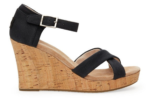 BLACK CANVAS CORK WOMEN'S STRAPPY WEDGES - SustainTheFuture.us - The Natural and Organic Way of Life