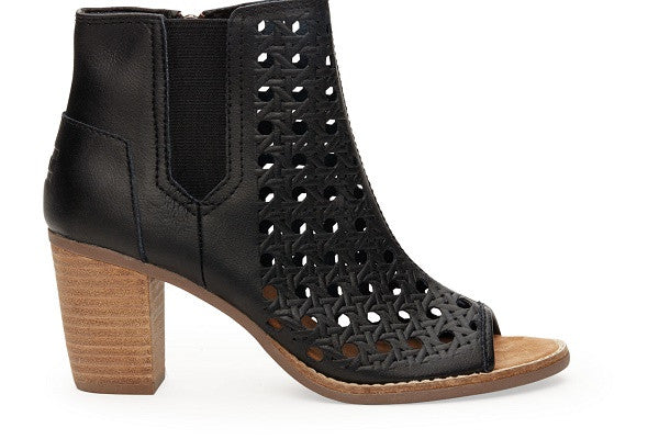 BLACK LEATHER BASKET WEAVE WOMEN'S MAJORCA PEEP TOE BOOTIES - SustainTheFuture.us - The Natural and Organic Way of Life