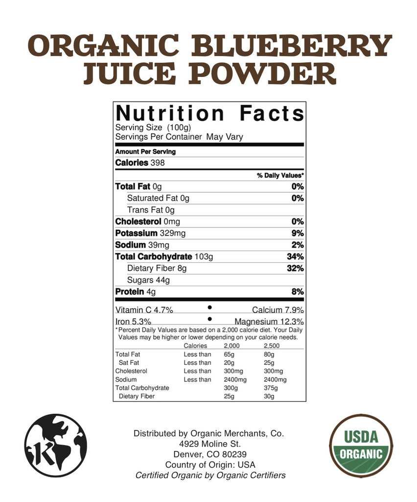 Organic Blueberry Juice Powder - 1lb Bag - Kosher, NON GMO, Gluten Free, Vegan
