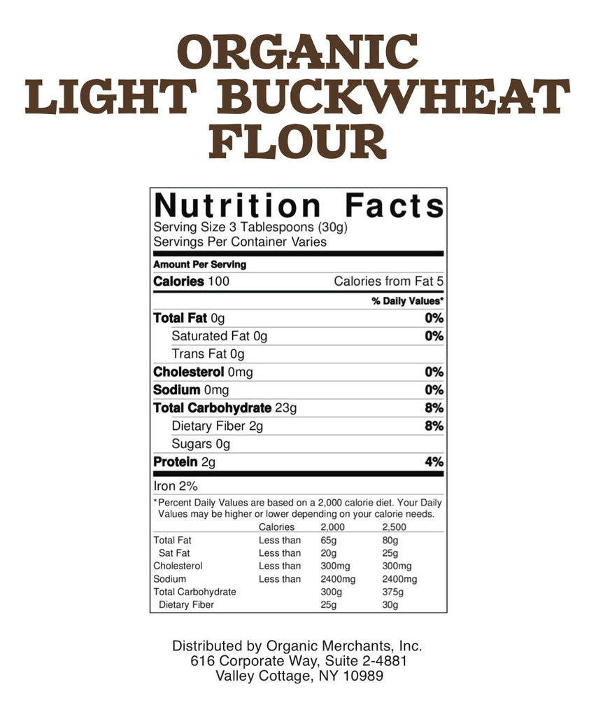 Organic Light Buckwheat Flour - 50lb Bag - Kosher, NON GMO, Gluten Free