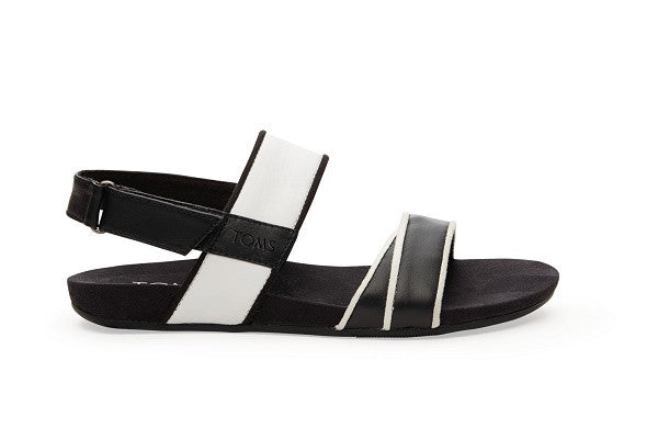 BLACK AND WHITE LEATHER WOMEN'S TIERRA SANDAL - SustainTheFuture.us - The Natural and Organic Way of Life
